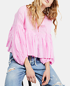Free People Beaumont Mews Cropped Peasant Top