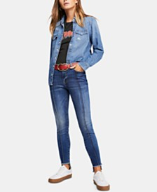 Free People Raw-Hem Skinny Jeans