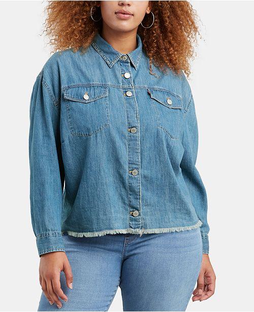 Levi\'s Plus Size Ash Jean Shirt & Reviews - Tops - Plus Sizes - Macy\'s