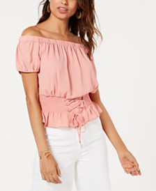 Ultra Flirt Juniors' Smocked Lace-Up Off-The-Shoulder Blouse