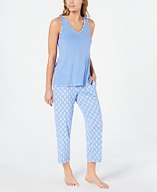 Knit Tank And Cropped Pant Pajama Set, Created for Macy's