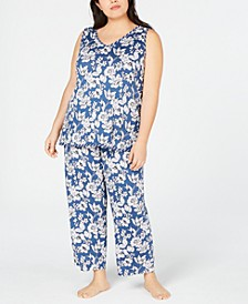 Plus Size Tank and Cropped Pants Pajama Set, Created for Macy's