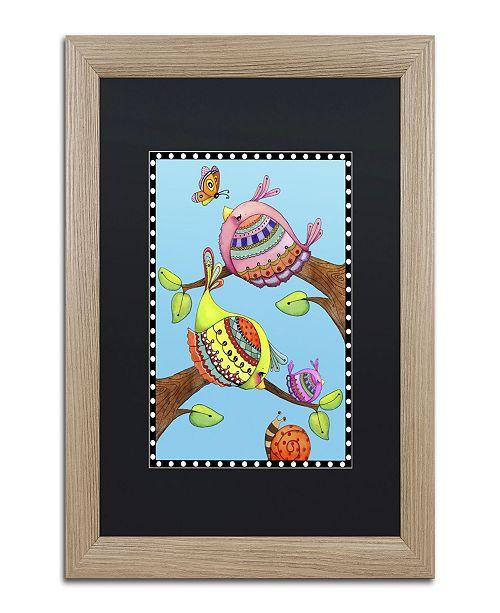 "Trademark Global Jennifer Nilsson Birds Trio Branch Matted Framed Art - 16"" x 20"" x 0.5"""