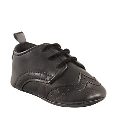 Luvable Friends Wingtip Dress Shoes, Black, 0-18 Months