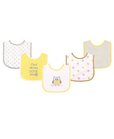 Drooler Bibs with Waterproof Back, 5-Pack, One Size