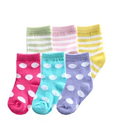 Striped Combo Socks, 6-Pack, Pink, 0-12 months