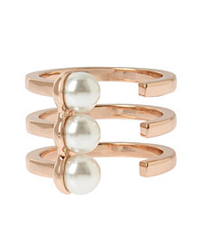 BCBGeneration Pearl Rose Gold Triple Row Ring