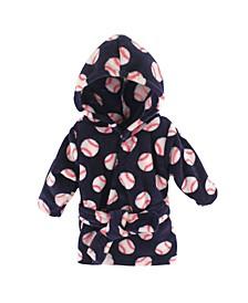 Luvable Friends Coral Fleece Hooded Bathrobe, Baseball, 0-9 Months