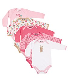 Long-Sleeve Bodysuits, 5-Pack, 0-24 Months