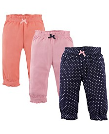 Hudson Baby Gathered Waist Pants, 3-Pack, Navy Polka Dots, 2T-5T