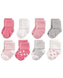 Chenille Socks, 8-Pack, Dots and Stripes, 0-24 Months