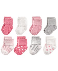 Hudson Baby Chenille Socks, 8-Pack, Dots and Stripes, 0-24 Months