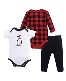 Hudson Baby Bodysuits and Pants 3-Piece Set, 0-24 Months