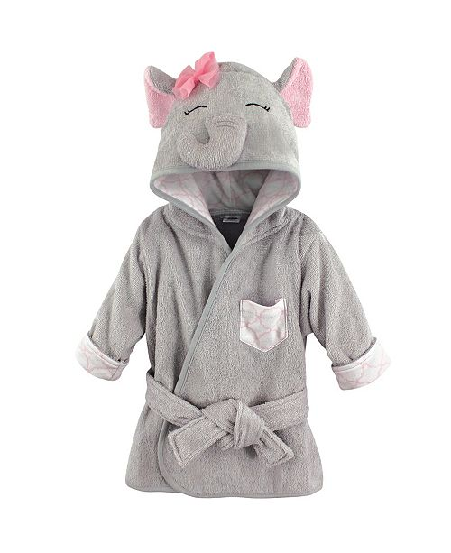 Hudson Baby Animal Face Hooded Bath Robe, Pretty Elephant, 0-9 Months