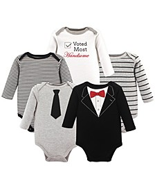 Long-Sleeve Bodysuits, 5-Pack