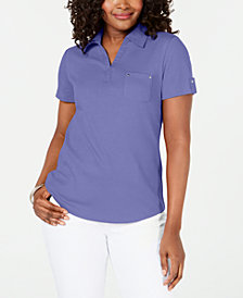 Karen Scott Petite Cotton Polo Top, Created for Macy's