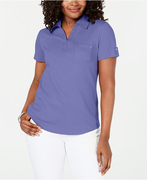 Karen Scott Petite Cotton Polo Top, Created for Macy's