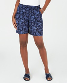 Karen Scott Petite Floral-Print Shorts, Created for Macy's