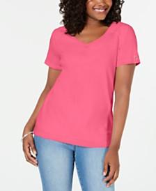 Karen Scott V-Neck Cotton Top, Created for Macy's