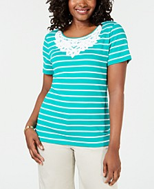 Crochet-Lace Striped Cotton Top, Created for Macy's