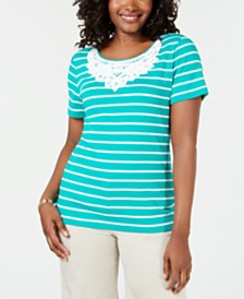 Karen Scott Crochet-Lace Striped Cotton Top, Created for Macy's