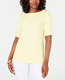 Cotton Lace-Up-Sleeve Top, Created for Macy's
