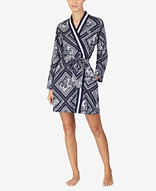 Lauren Ralph Lauren Printed Long-Sleeve Knit Cotton Robe
