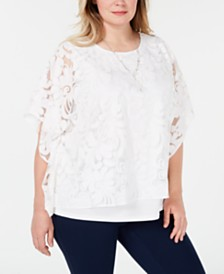 Alfred Dunner Plus Size Society Pages Necklace Top