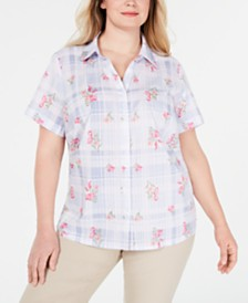 Karen Scott Plus Size Posey Plaid Cotton Shirt, Created for Macy's