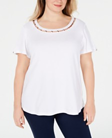 Karen Scott Plus Size Star-Trim Cotton Top, Created for Macy's
