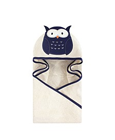 Unisex Baby Animal Face Hooded Towel, Navy Owl 1-Pack, One Size