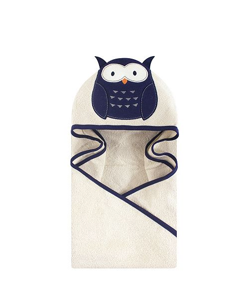 Baby Vision Hudson Baby Unisex Baby Animal Face Hooded Towel, Navy Owl 1-Pack, One Size