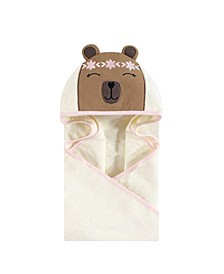 Unisex Baby Animal Face Hooded Towel, Boho Bear 1-Pack, One Size