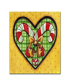 "Jennifer Nilsson Candy Cane Heart Canvas Art - 14"" x 19"" x 2"""