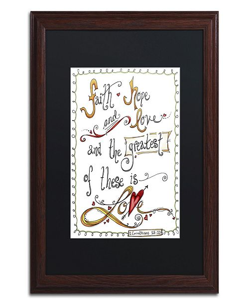 """Trademark Global Jennifer Nilsson Words of Love - Greatest of These Matted Framed Art - 11"""" x 14"""" x 0.5"""""""