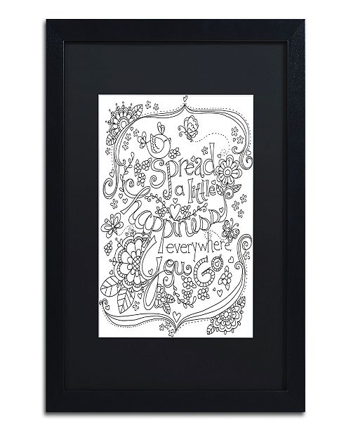 "Trademark Global Jennifer Nilsson Spread Happiness Coloring Page Matted Framed Art - 18"" x 24"" x 2"""