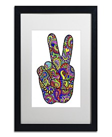"""Kathy G. Ahrens Psychedelic Mehndi Peace Sign Matted Framed Art - 16"""" x 20"""" x 0.5"""""""