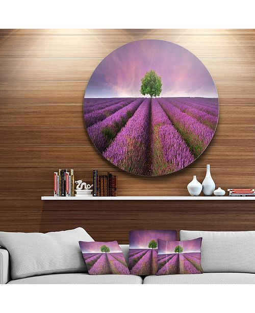 "Design Art Designart 'Lavender Field Sunset With Single Tree' Floral Metal Circle Wall Art - 23"" x 23"""