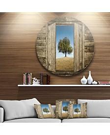 "Designart 'Window Open To Solitary Tree' Ultra Vibrant Landscape Metal Circle Wall Art - 23"" x 23"""