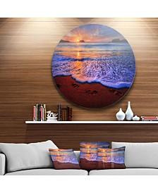 "Designart 'Colorful Sunset Over Beautiful Shore' Seashore Metal Circle Wall Art - 23"" x 23"""