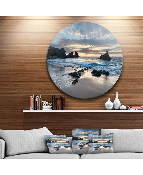 "Design Art Designart 'Beautiful Porthcothan Bay' Seashore Metal Circle Wall Art - 38"" x 38"""