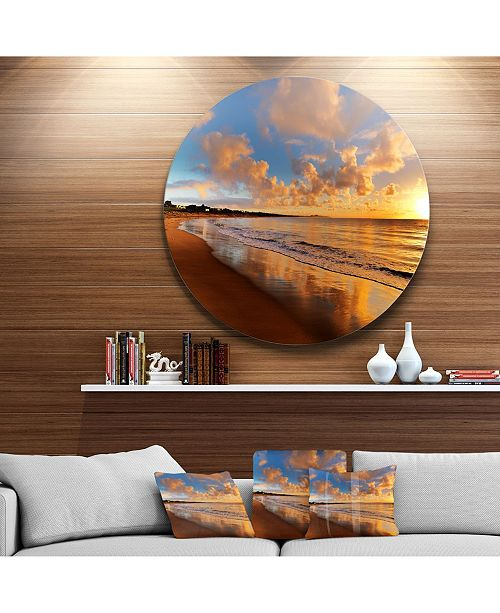 "Design Art Designart 'Colorful Sunset On The Beach' Landscape Round Circle Metal Wall Art - 23"" x 23"""
