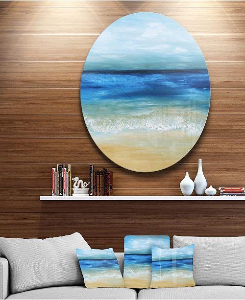 "Design Art Designart 'Warm Tropical Sea And Beach' Disc Seascape Circle Metal Wall Art - 38"" x 38"""