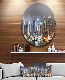 "Designart 'Lit Nyc Manhattan Skyline' Cityscape Photo Circle Circle Metal Wall Art - 23"" x 23"""