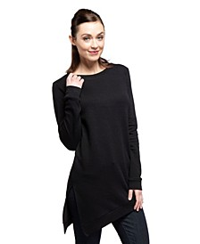 YALA Kelli Organic Cotton and Viscose from Bamboo Asymetrical Sweatshirt Tunic