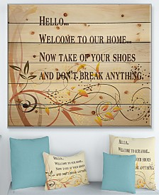 """Design Art 'Welcome to our home... Orange vines' Wood Wall Art - 40"""" x 30"""""""
