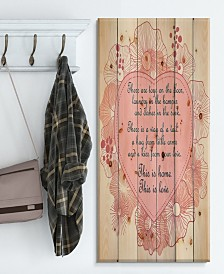 """Design Art 'This is home. This is Love. Pink floral heart' Wood Wall Art - 30"""" x 40"""""""