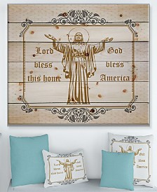 """Design Art 'Lord Bless this house. Lord Bless America' Wood Wall Art - 40"""" x 30"""""""