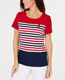 Karen Scott Petite Tish Striped Top, Created for Macy's