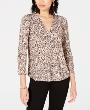 Image of 1.state Animal-Print Shirt